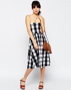 Image 4 of ASOS Midi Bandeau Dress In Gingham Print