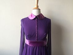 Vintage Peter Pan Collar Amethyst Dress by Baxtervintage on Etsy