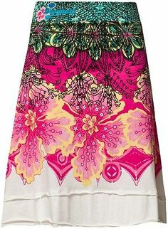 Jupe Desigual LUISSETTE XL 42 Blanc Rose Skirt Robe T-shirt Dress Sac Top Fushia
