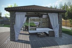 If you want a very professional and finished look you can add a number of features to your pavilion area. This pavilion area has a living room section divided from an eating area. With a setup like this a pavilion can have multiple uses.