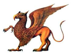 Griffin ~ is a legendary creature with the body and tail and back legs of a lion, and the head and wings of an eagle, and an eagle's feet as its front feet. As the lion was traditionally considered the king of the beasts and the eagle was the king of the birds, the griffin was thought to be an especially powerful and majestic creature.