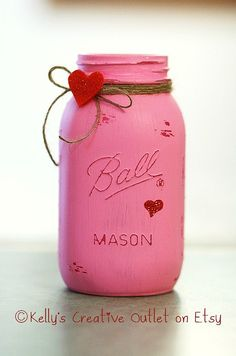 Mason Jar Valentine's Day Decoration. This would be great done with Americana Decor Chalky Finish Paint. #Craft #DIY