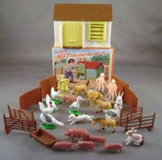Vintage Plastic Hut Toy Hong Kong Animals by juliantiques on Etsy, $10.00