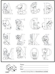 kids coloring page precious moments alphabet part 1 coloring sheet