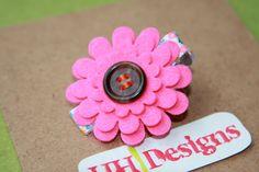 Bright Pink Felt Flower Clip