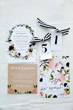 Modern/ floral /garden wedding invitations, photo by Amber Lynn Photography Garden Wedding Invitations, Wedding Invitation Design, Wedding Stationary, Wedding Paper, Wedding Cards, Our Wedding, Dream Wedding, Wedding Venues, Trendy Wedding