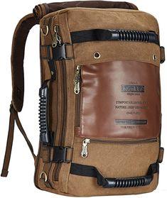 Top Rucksack zu gutem Preis  CLEANER LOOK & DREI TYPEN SIND UNTERSTÜTZT -- Das einzigartige Design macht es Kann Wie eine Schultertasche, Handtasche oder Rucksack.Adjustable gepolsterte Schultergurt (45cm-90cm), ist komfortabel für das Tragen.Der Rucksack mit hoher Dichte dauerhaft & Öko- Freundliche Leinwand + PU-Leder, ist sehr hochwertig und attraktiv. PLENTY KAPAZITÄT -- Größe: L: 29cm (11,80 Zoll), W: 17cm (6,70 Zoll), H: 45cm (17,70 Zoll). Gewicht: 1,2 kg / 2,64 Pfund. Große Kapazität… Outdoor Reisen, Backpack Reviews, Vintage Backpacks, Outdoor Backpacks, Outdoor Travel, Multifunctional, Hiking, Camping, Sport