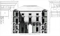 Andrea Palladio: Palazzo Valmarana, 1565, Vicenza, Italy; transversal section by Ottavio Bertotti Scamozzi, 1776