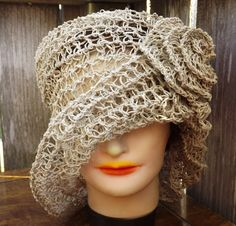 Crochet OMBRETTA Straw Hat in Hemp Pattern - I used the same hemp you find at your local Walmart jewelry craft section.