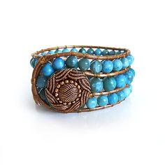 Cerulean Blue Jasper Gemstone Beaded Leather Cuff Bracelet Handmade | CrystalBazaar - Jewelry on ArtFire