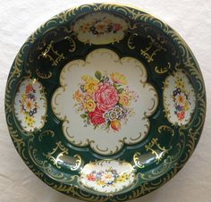 Vintage Daher Round Tin Floral Serving Bowl by CoolOldStuffIFound, $20.00