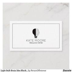 Video film editor cutter director mini business card editor light bulb brain idea black and white business card with half light bulb and half brain for writers editors consultants proffreaders colourmoves
