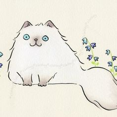 Image result for watercolor persian cats