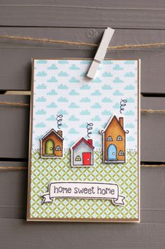 Lawn Fawn - Home Sweet Home stamps and coordinating dies, Into the Woods paper _ really cute card by Gerdine at Studio Saar and Pien ©: Home sweet home Welcome Home Cards, New Home Cards, Cool Cards, Diy Cards, Happy New Home, Lawn Fawn Stamps, Card Making Inspiration, Art Wall Kids, Card Tags