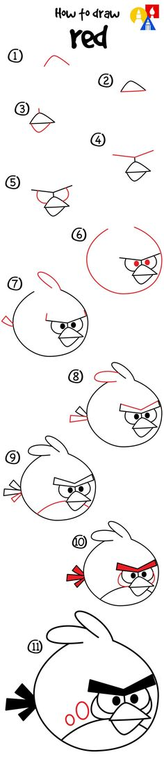 How to draw Red from Angry Birds!