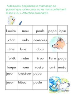 Le son OU, fiches d'activités ( Des lettres, des mots, des histoires) Foreign Language, Young Children, Index Cards