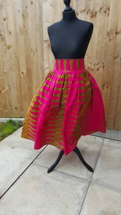 Pink african print midi short skirt - pinned by pin4etsy.com
