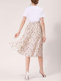 Elastic Waist Tiny Floral Printed Pleated Midi Skirt