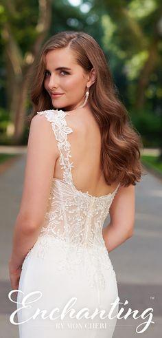 Wedding dress from Enchanting by Mon Cheri - 120162 Sheath Wedding Gown, Wedding Gowns, Wedding Day, Crepe Skirts, Sophisticated Bride, Gorgeous Wedding Dress, Mon Cheri, Beaded Lace, Dream Dress