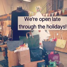 New Holiday Hours for some extra shopping time! The shop will be open Monday-Thursday 10-7 Friday & Saturday 10-8 and Sunday 11-6
