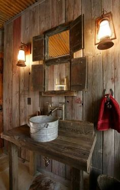 Very #country as well as #rustic. That #bucket #sink fits so well!