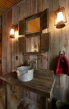 39 Amazing Rustic Bathroom Designs : 39 Cool Rustic Bathroom Designs With Wooden Wall Wash Basin Mirror Lamp Red Towel And Hardwood Floor