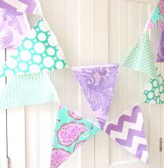 21 Fabric Flag Bunting, 9 Feet Party Banner, Purple, Teal, Chevron, Paisley, Polka Dot, Birthday, Wedding, Photo Prop, Nursery Decor