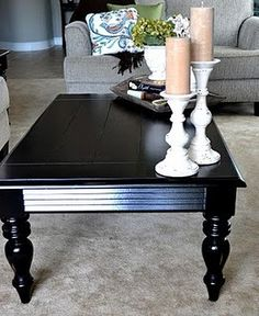 Redoing a Goodwill Coffee Table in blackI am LOVING a black