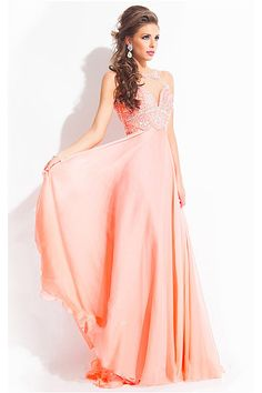 A-line Crystal Floor-length Chiffon Long Prom Dresses