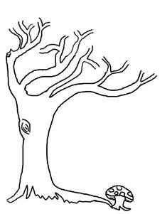 Tree without leaves coloring page to print and download for kids ...
