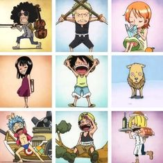 On Piece. Luffy, Zoro, Nami, Robin, Brook, Franky, Usopp, Chopper and Sanji
