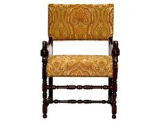 CARVED WALNUT BAROQUE ARMCHAIR IN PAISLEY    $875