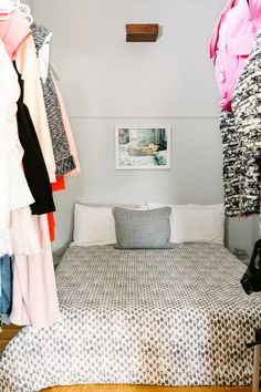 """Could You Sleep In A Closet? Because This Girl Does (With Her Boyfriend!) #refinery29  http://www.refinery29.com/tiny-apartment-living#slide-17  Make Use Of Every Nook""""A massive, walk-in closet serves as our bedroom, allowing for a separate living area,"""" Bigley says. """"Although only large enough for a queen-size bed and two makeshift nightstands, the space adequately serves its purpose."""""""