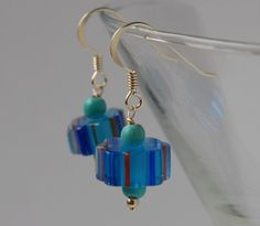 Candy cane glass bead and silver earrings - royal blue, red and turquoise £10.00