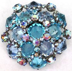 SCHREINER Massive Beautiful Blue Inverted Rhinestone Dome Vintage Pin