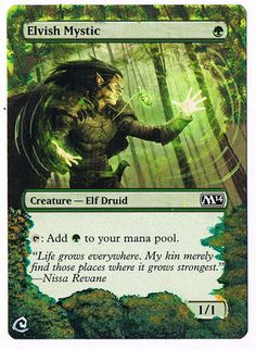 MTG Altered Painted x 4 Playset Elvish Mystic M14 M15 #WizardsoftheCoast