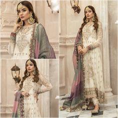 Pakistani Indian Wedding dresses off White maria b embroidery | Etsy Pakistani Formal Dresses, Pakistani Dress Design, Indian Dresses, Off White Dresses, Casual Dresses, Gharara Designs, Maria B, Indian Designer Suits, Beautiful Suit