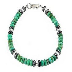 """Timeless Treasures - Men's Gemstone Turquoise, Hematite & Sterling Silver Rondelle Bracelet - 9"""""""