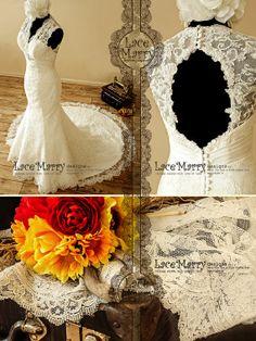 Romantic Lace Wedding Dress with Illusion Style Neckline and Key Hole Open Back - Lace Wedding Dress on Etsy, $365.91 AUD