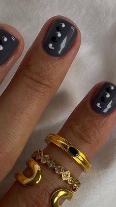 Nail Manicure, Gel Nails, Nail Polish, Cute Nails, Pretty Nails, Short Almond Nails, Crazy Nails, Acrylic Gel, Minimalist Nails