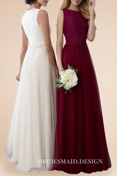 a64f2516aa0 Apricot   Wine Lace and Tulle Feminine Bateau Neck A-line Long Bridesmaid  Dresses