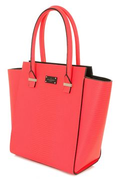 Paul's Boutique Spring / Summer 2015   Mila tote bag in neon coral snakeskin. www.paulsboutique.com x Paul's Boutique, Ss 15, Hermes Birkin, Tote Bag, Kate Spade, Spring, Handbags, Lady, Fashion