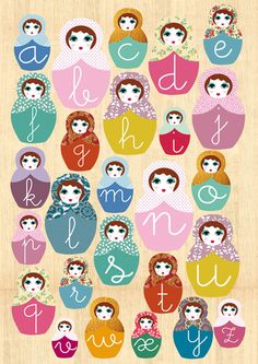"Learn ABC with cute russian dolls on wooden background , originally uploaded by Green Nest . I made a ""Learn ABC with cute russian dolls on . Abc Poster, Collage Poster, Poster Prints, Art Print, Matryoshka Doll, Kokeshi Dolls, Alphabet Art, Alphabet Soup, Illustrations"