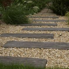 Log sleeper is a handmade reconstituted stone product, which replicates the surface and appearance of old worn railway sleepers. Hard wearing and durable. Pebble Garden, Garden Paving, Garden Steps, Garden Paths, Gravel Patio, Concrete Pavers, Herb Garden, Vegetable Garden, Paver Path