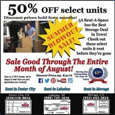 50% Off Select Storage Units At 5A Rent A Space. Contact The