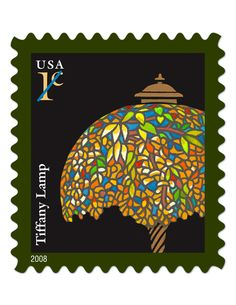 Tiffany Lamp (2008) U.S. Postage Stamp honoring Tiffany & Company, founded in New York City in 1837 by Charles Lewis Tiffany, father of Louis Comfort Tiffany.
