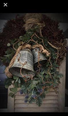 Christmas Greenery, Christmas Arrangements, Christmas Swags, Xmas Wreaths, Burlap Christmas, Vintage Christmas Ornaments, Christmas Bells, All Things Christmas, Winter Christmas