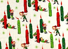 Vintage Christmas paper with elves and candles
