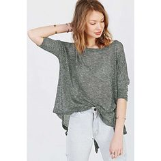 Gray Back Slit Asymmetrical Hem Loose Top ($22) ❤ liked on Polyvore featuring tops, grey, grey top, loose tops, 3/4 sleeve shirts, three quarter sleeve shirts and loose fitting shirts