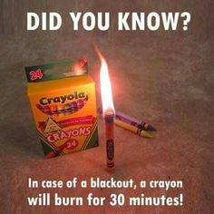 """Zombie Apocalypse emergency tip of the day. Also, the caption on the image makes me giggle. Like, """"in an emergency,"""" the crayon will burn. If it's NOT an emergency and the crayon knows it, it will NOT burn for 30 minutes. Camping Survival, Emergency Preparedness, Survival Tips, Survival Skills, Urban Survival, Emergency Kits, Camping Hacks, Survival Mode, Emergency House"""
